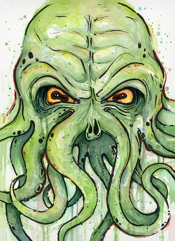 Cthulhu Watercolor Illustration by Olechka01