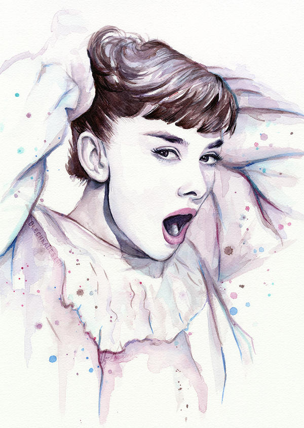 Audrey Hepburn Watercolor by Olechka01