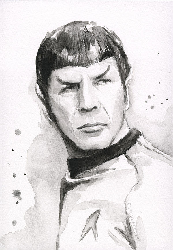 Spock Portrait Watercolor by Olechka01