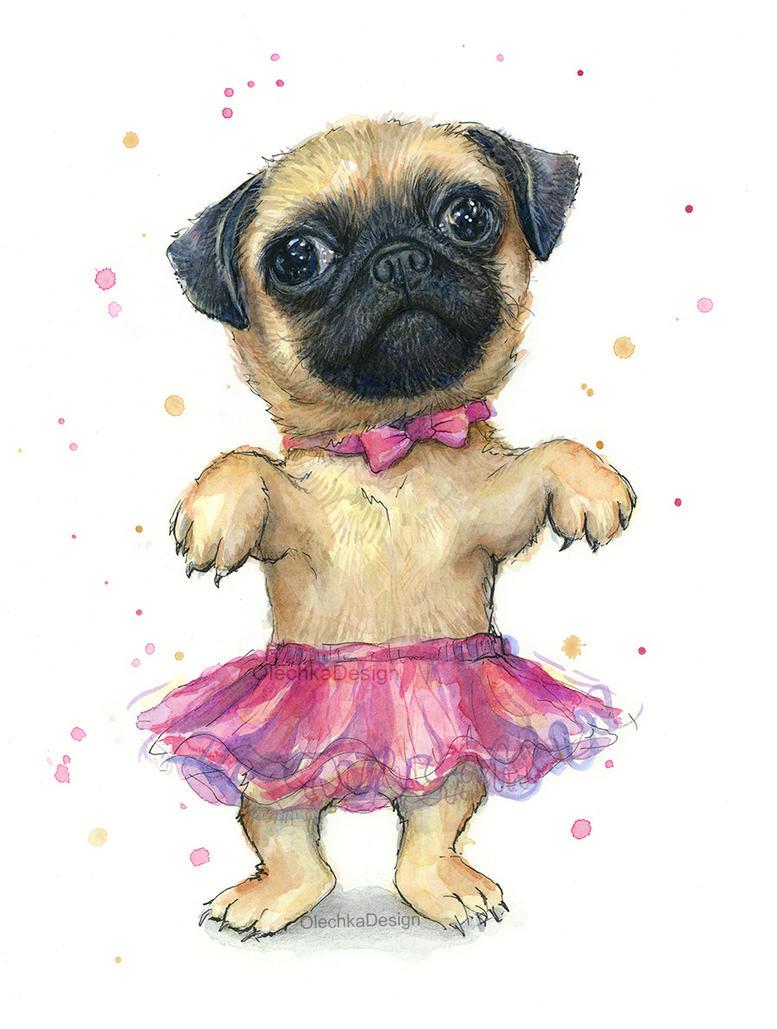Cute Pug Puppy in a Tutu by Olechka01
