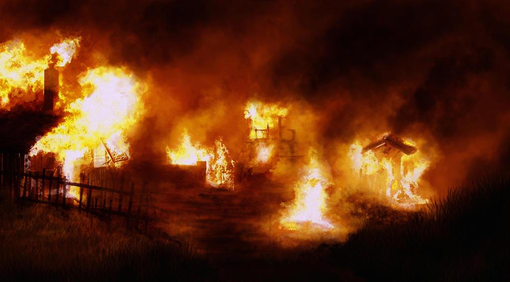 Compendio de las historias de Alegorn Burning_village_by_tonkyp-d4vkt8l