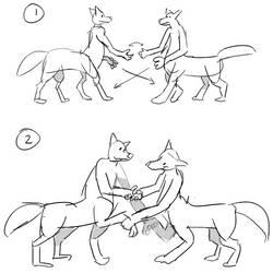 Triple pawshake by Hexaditidom