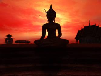 Sunset Buddha by posh522789
