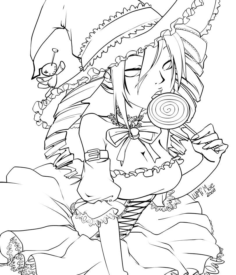 Coloring Lineart : Neotokyo halloween lineart by lumi mae on deviantart