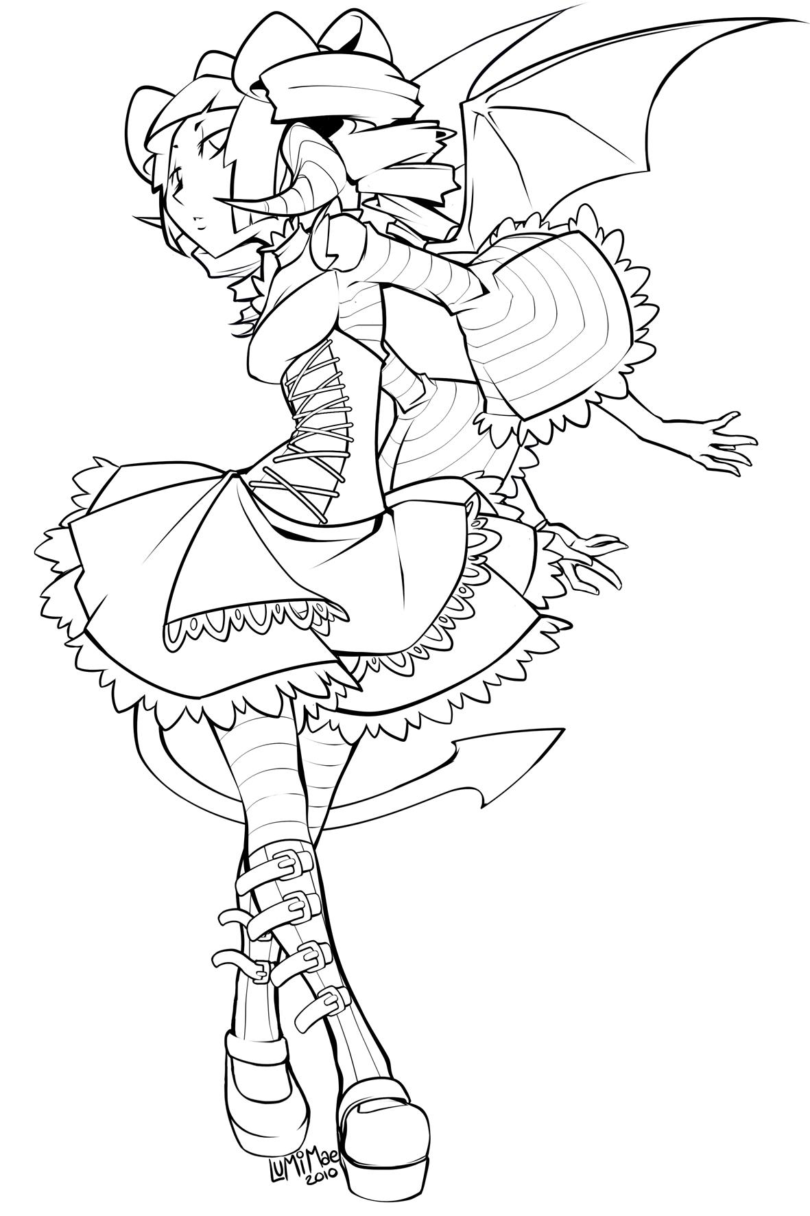 Succubus Lolita lineart by lumi-mae
