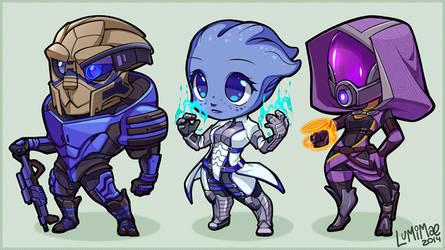 Mass Effect chibis by lumi-mae