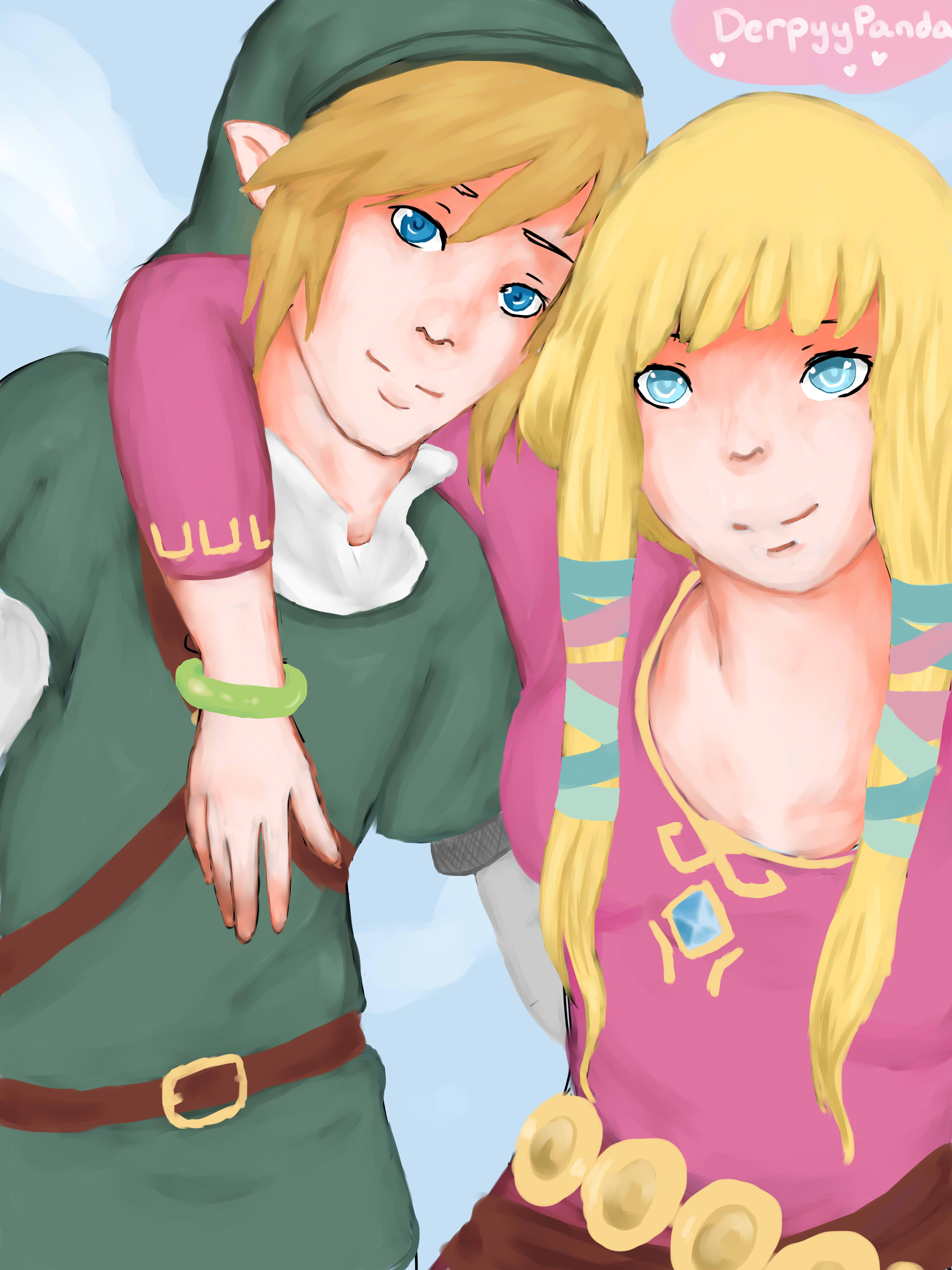 Link and Zelda by DerpyyPanda