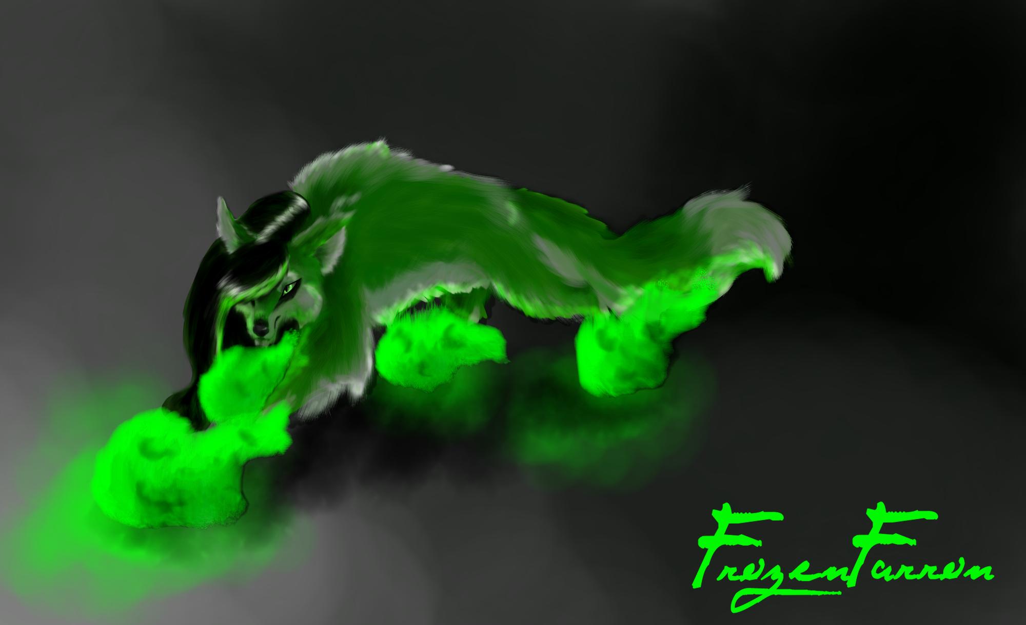 Green Fire Wolf