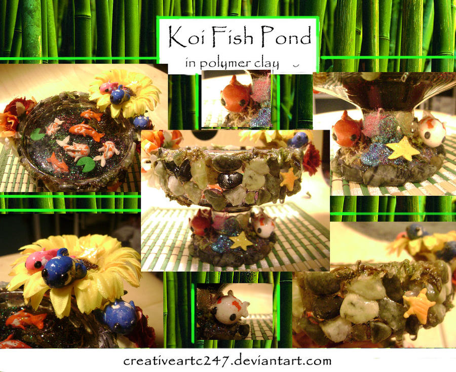 Polymer clay koi fish pond by creativeartc247 on deviantart for Clay fish pond