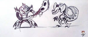 6th of Inktober --- Cartoony Monster Hunter