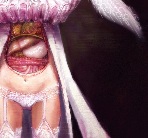 detail of White Rabbit -or- Rose Bouquet by yuko-rabbit