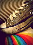 stepping on rainbows.