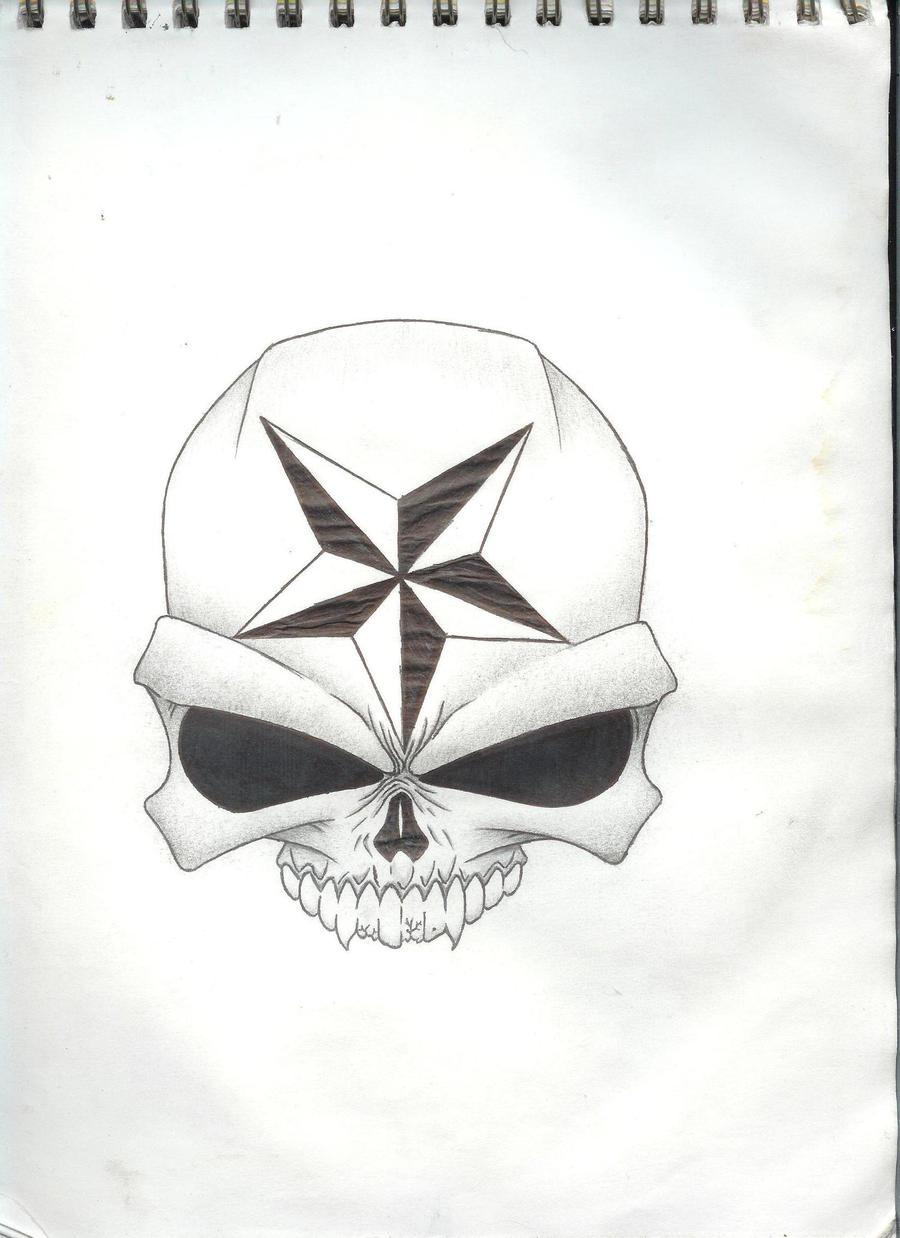 Nautical Star Skull Tattoo