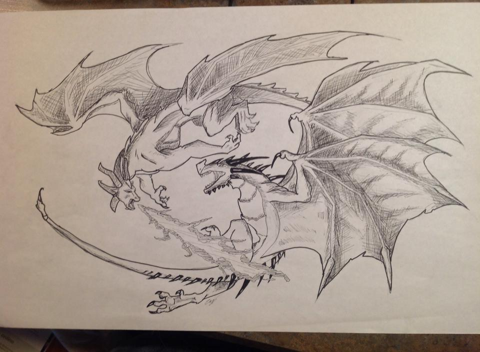 Dragon vs. Wyvern inked by TheDragonChronicler on DeviantArt