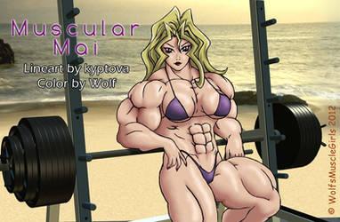 Muscular Mai COLOR by WolfsMuscleGirls