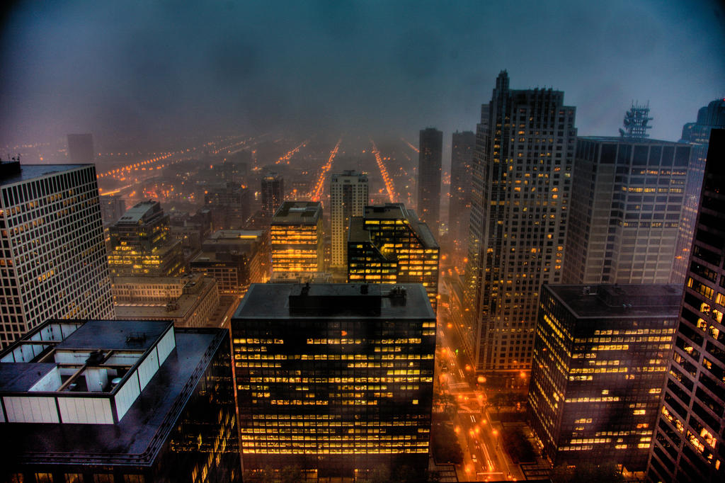 stormy Chicago night by delobbo