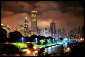 Chicago Skyline 02 by delobbo