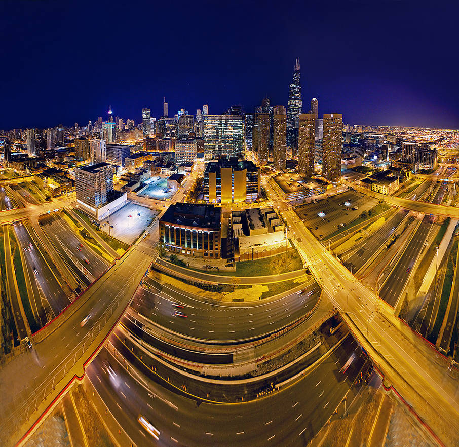 Chicago pano-Skybridge