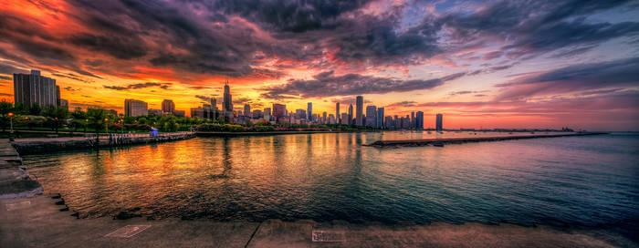Chicago Sunset Skyline panoramic HDR