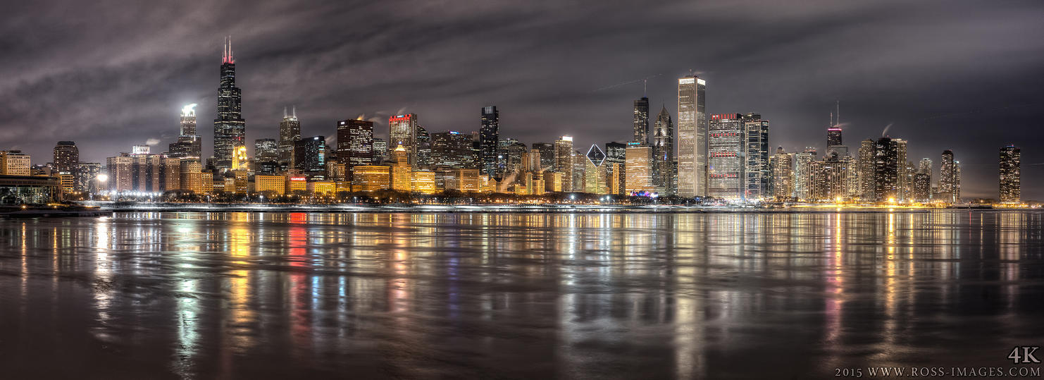 Chicago Skyline - night HDR Panoramic - Feb 2015 by delobbo