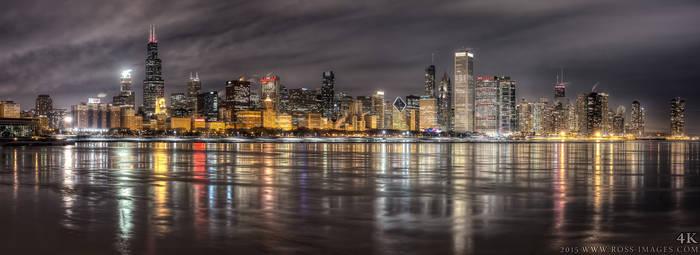 Chicago Skyline - night HDR Panoramic - Feb 2015