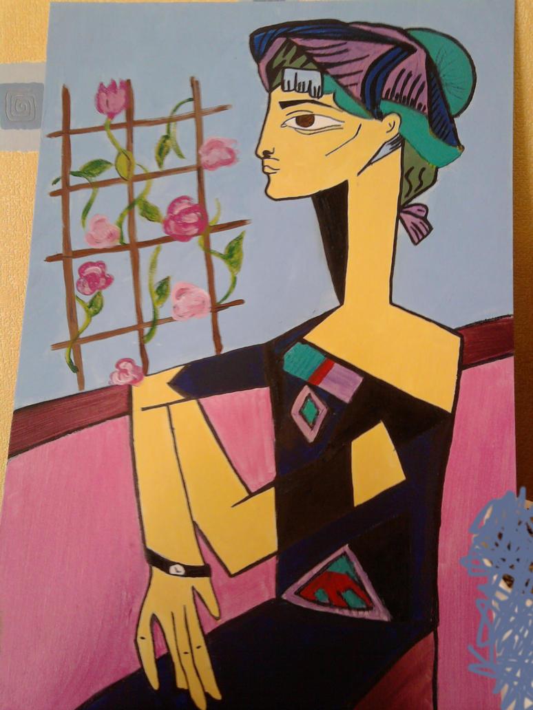 """""""Jacqueline with flowers""""1954 by kabuki-danshi"""