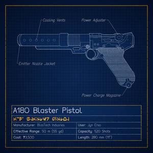 A180 Blaster Pistol Blueprint (Jyn Erso's Pistol)