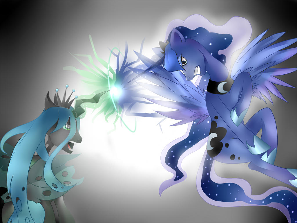 Luna and Changeling Queen by The0ne-u-lost