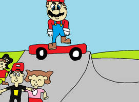 Super Mario: Mario Playing Skateboard