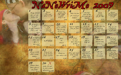 NaNoWriMo 2009 pirate calender by Captain-Savvy