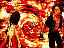 Iori Yagami vs Kyo Kusanagi by XixStarwinxiX