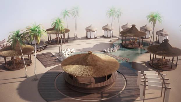 3D beach oasis