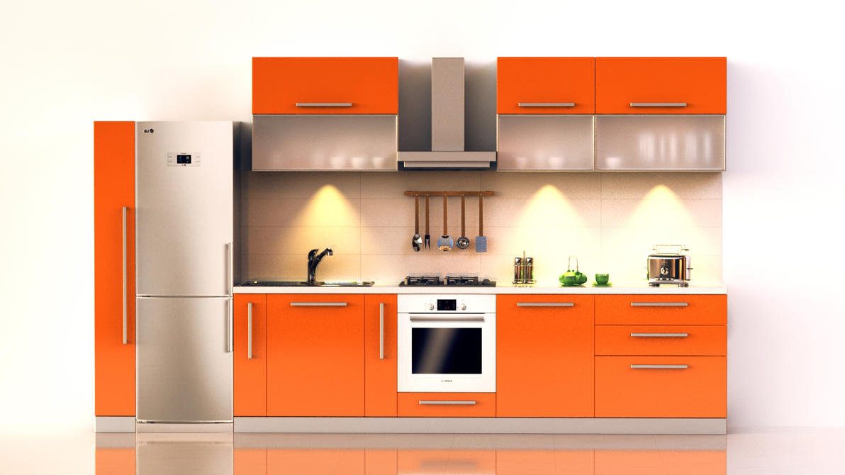 Bright orange kitchen by raaab