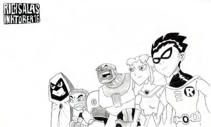 INKTOBER '16 #15 - Teen Titans, Go! (Comma, yes!)