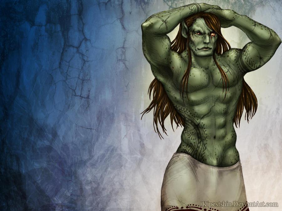 Bathing Ogre by Kipestshin