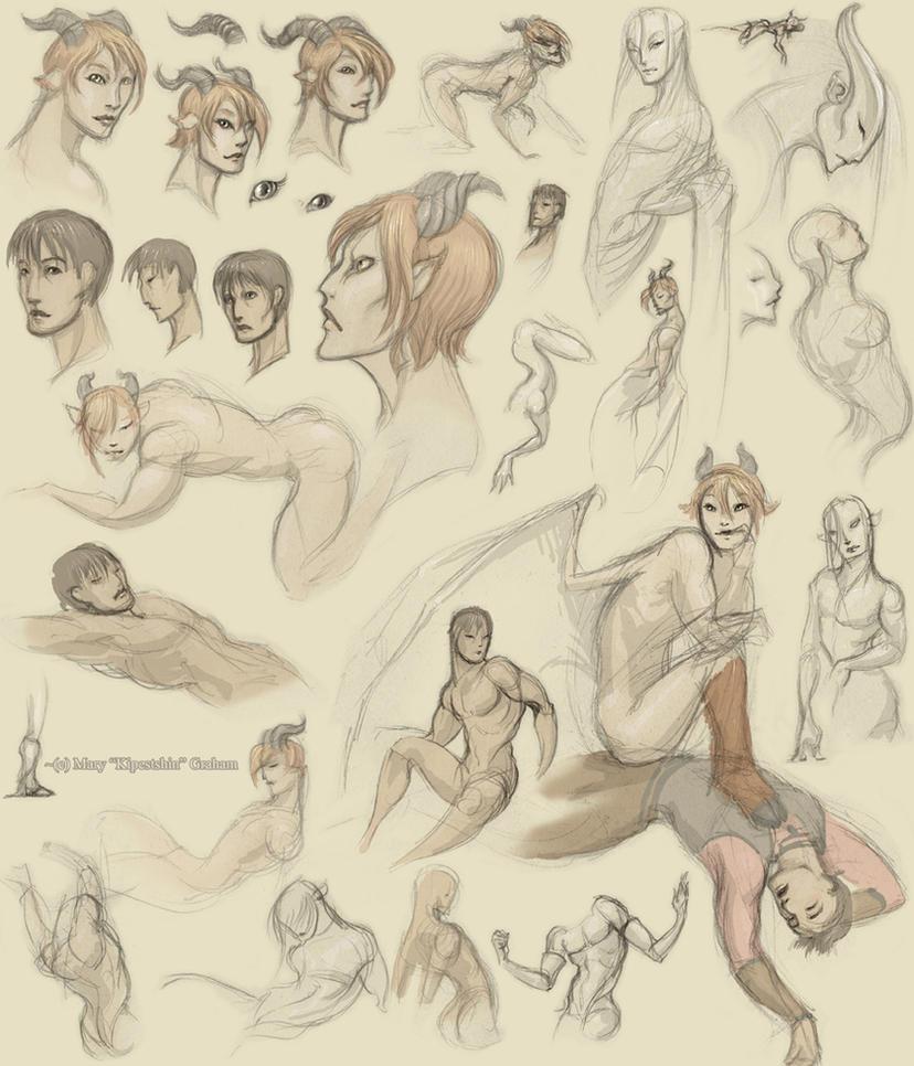Jesse and Amartheo Sketches 1 by Kipestshin