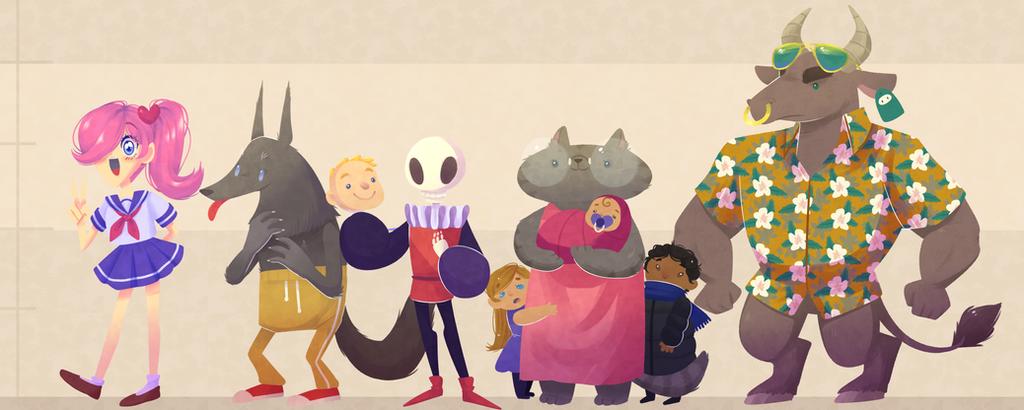 AROUND THE CREEK - character line up by Looji
