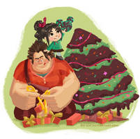 Wreck it Ralph Christmas Card 2012 Plain by RO-sen