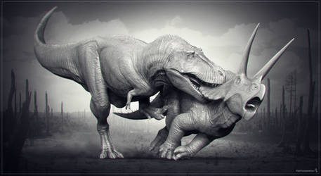 T.rex vs Triceratops. WIP by Swordlord3d