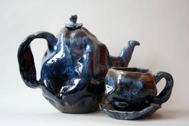 Blue Teaset for 1 AP Art by nannnerpie