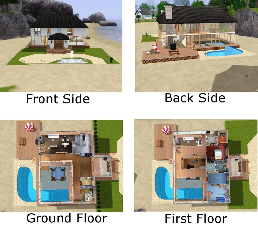 Sims 3 beach house by xniche on deviantart for Cool house plans for sims 3