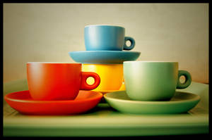 four cups and a tray by zemoto