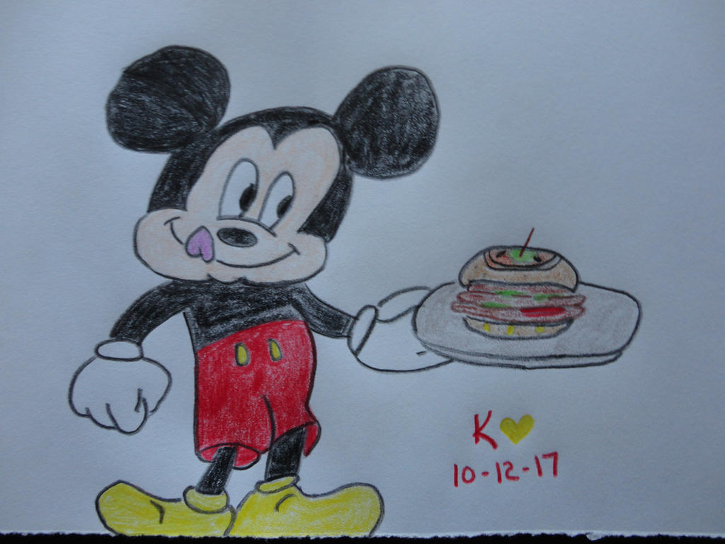 jyacini challenge post    Mickey and burger by Keithzdarkside