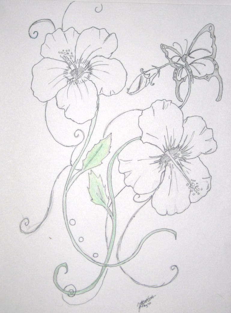 Hibiscus tattoo by kizzy bloom on deviantart for Hibiscus flower tattoo sketches