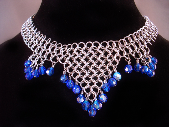 Chainmail Blue Fire Polished Bead Choker by Pharewings