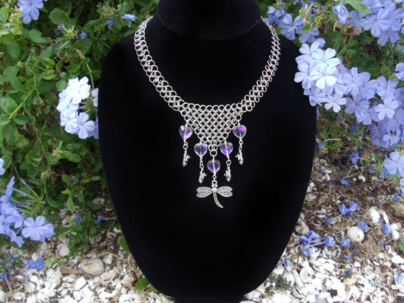 Dragonfly Heart Chainmail Necklace by Pharewings