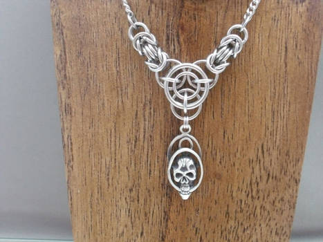 Axis of Awesome Chainmail Skull Necklace