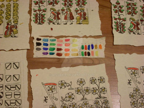 Colouring tests for medieval playing cards.