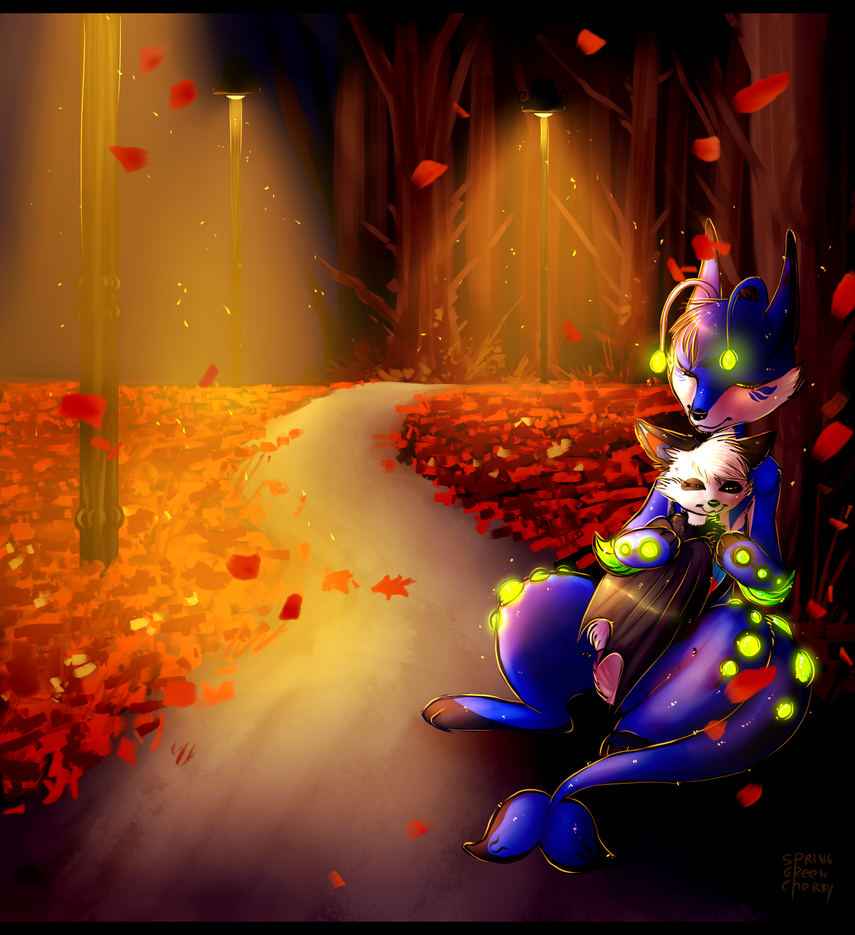 Autumn Night By Spring Green Cherry by LuckyLucario