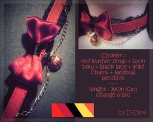 FOR SALE : Ladybug Choker (open) by D-Dyee